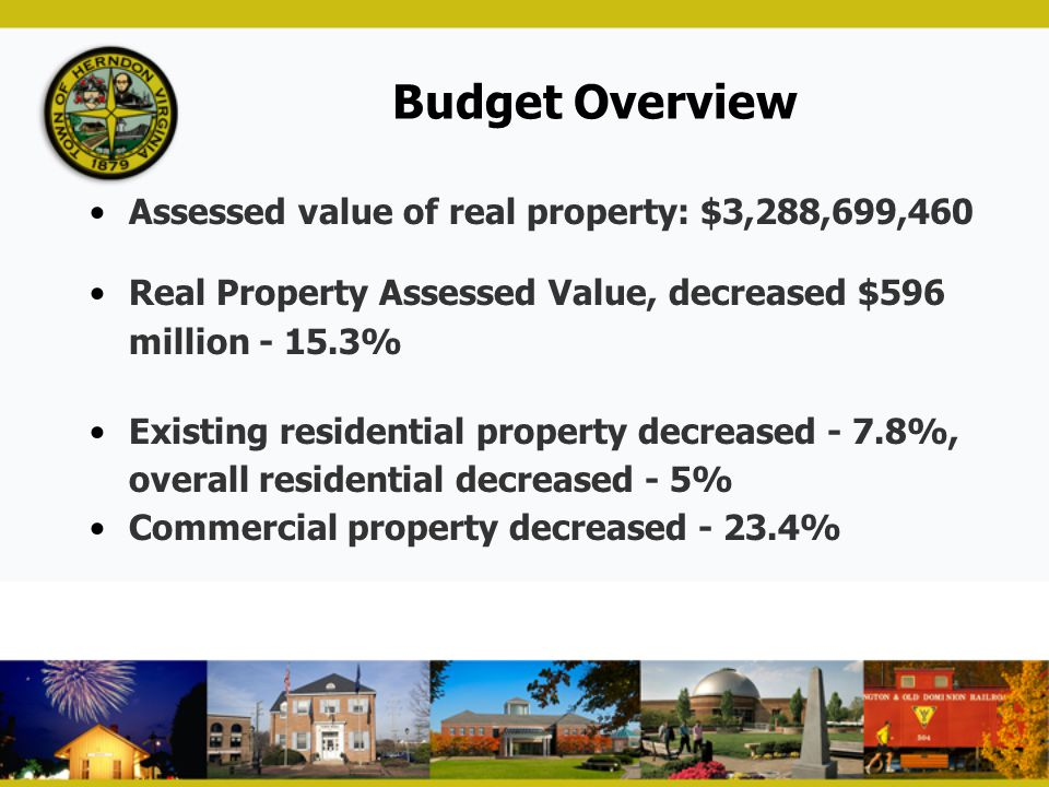 Budget Overview Assessed value of real property: $3,288,699,460
