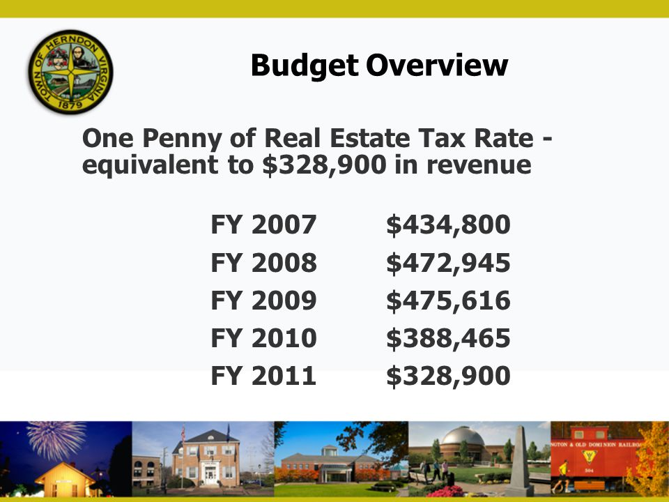 Budget Overview One Penny of Real Estate Tax Rate - equivalent to $328,900 in revenue. FY 2007 $434,800.