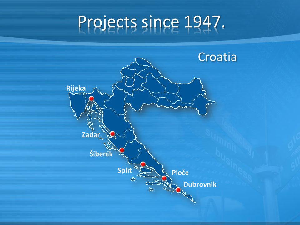 Projects since 1947. Croatia Rijeka Zadar Šibenik Split Ploče