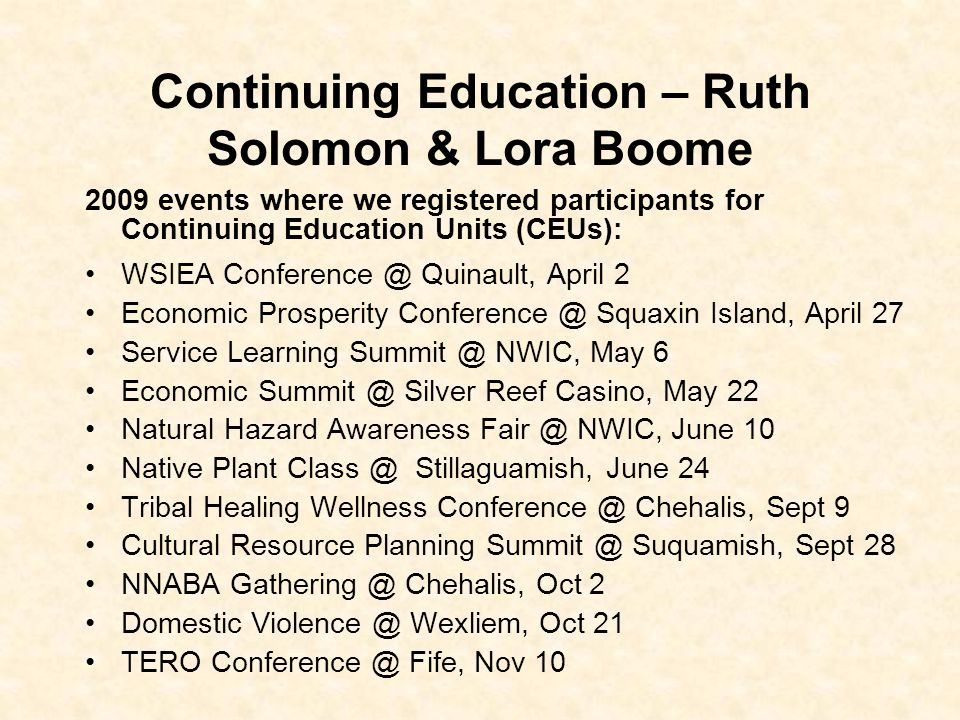 Continuing Education – Ruth Solomon & Lora Boome
