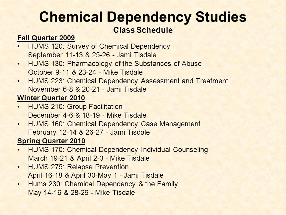 Chemical Dependency Studies Class Schedule