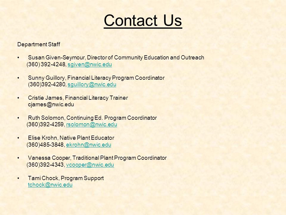 Contact Us Department Staff