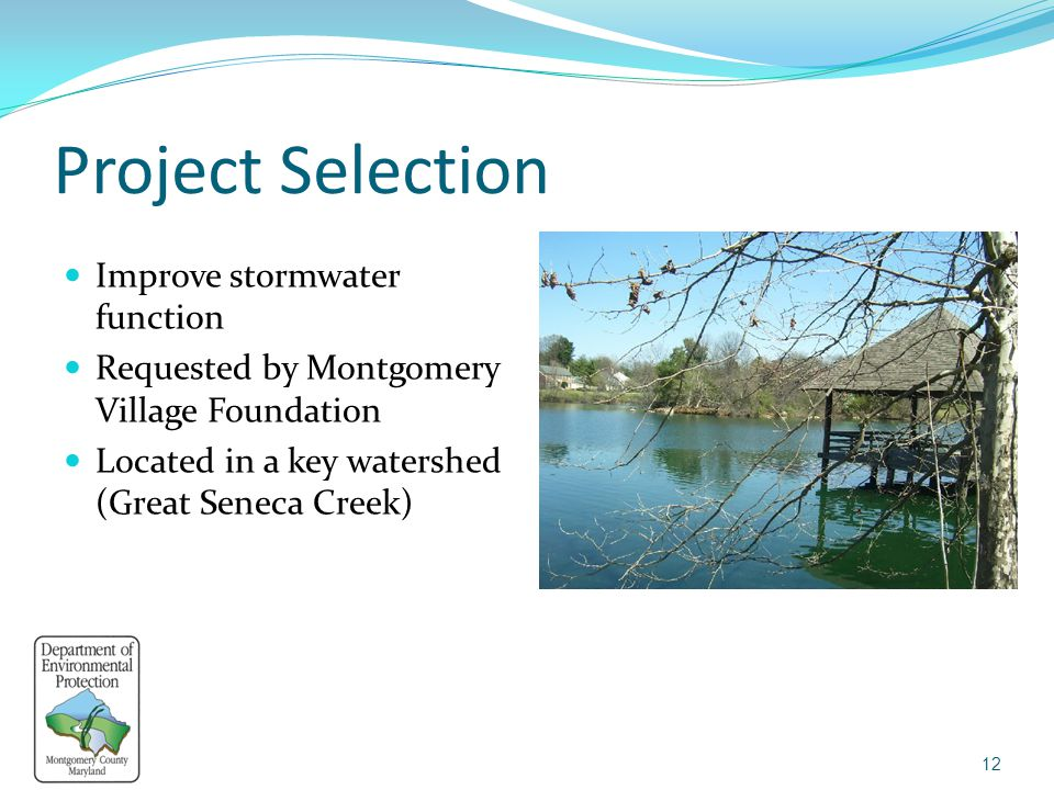 Project Selection Improve stormwater function