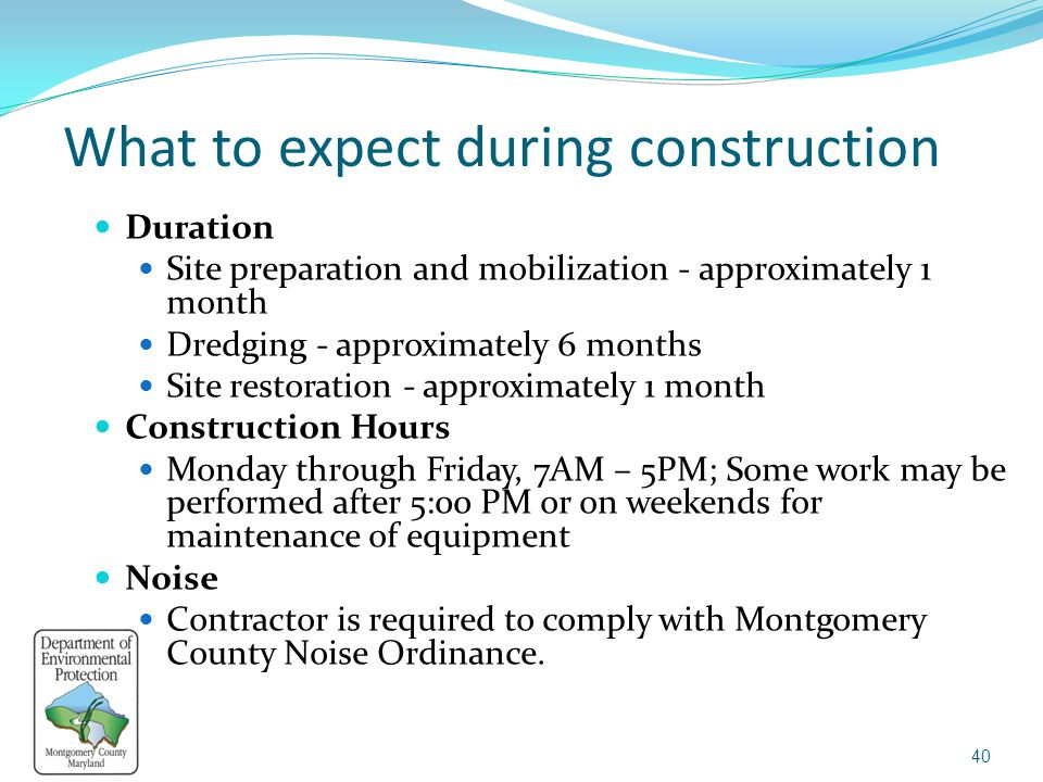 What to expect during construction