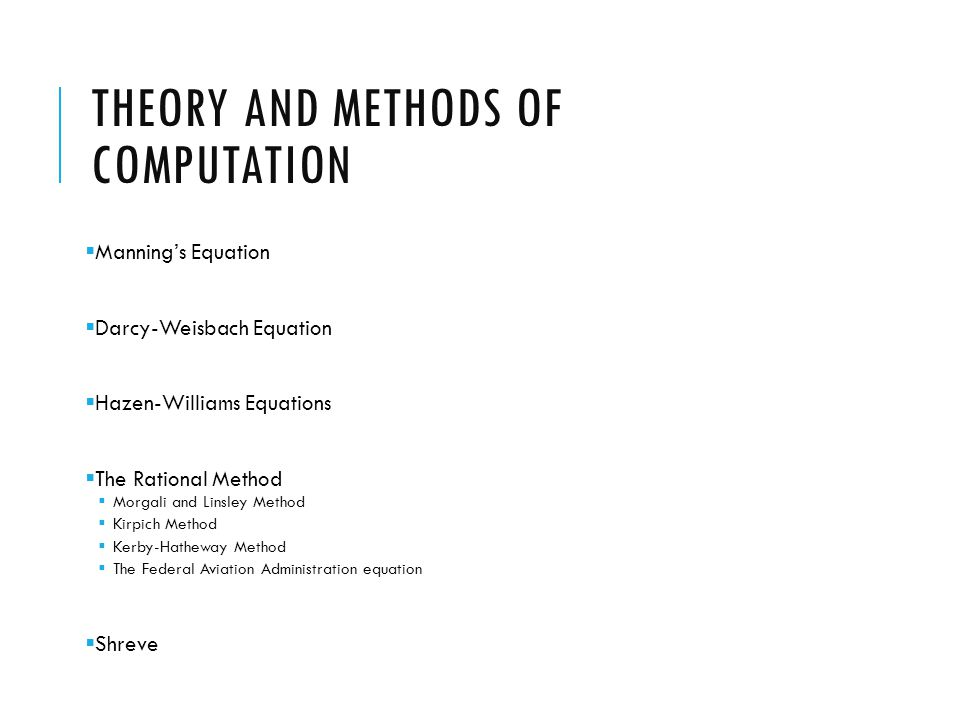 Theory And Methods of Computation