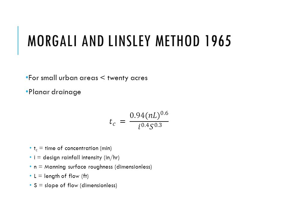 Morgali and Linsley Method 1965