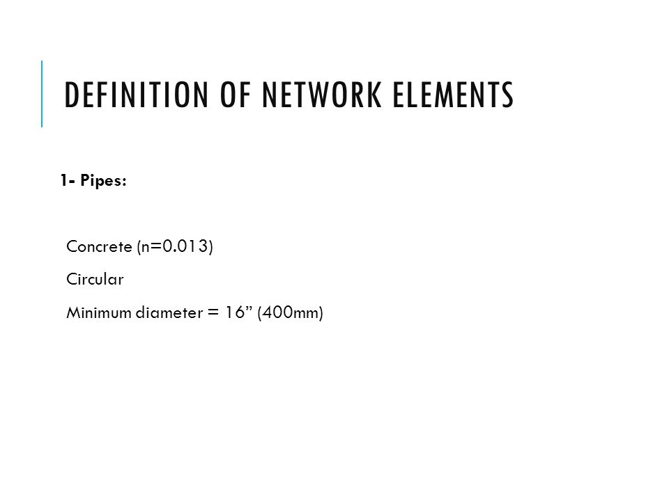 Definition of network elements