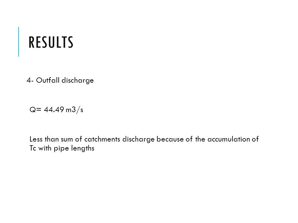 Results 4- Outfall discharge Q= 44.49 m3/s