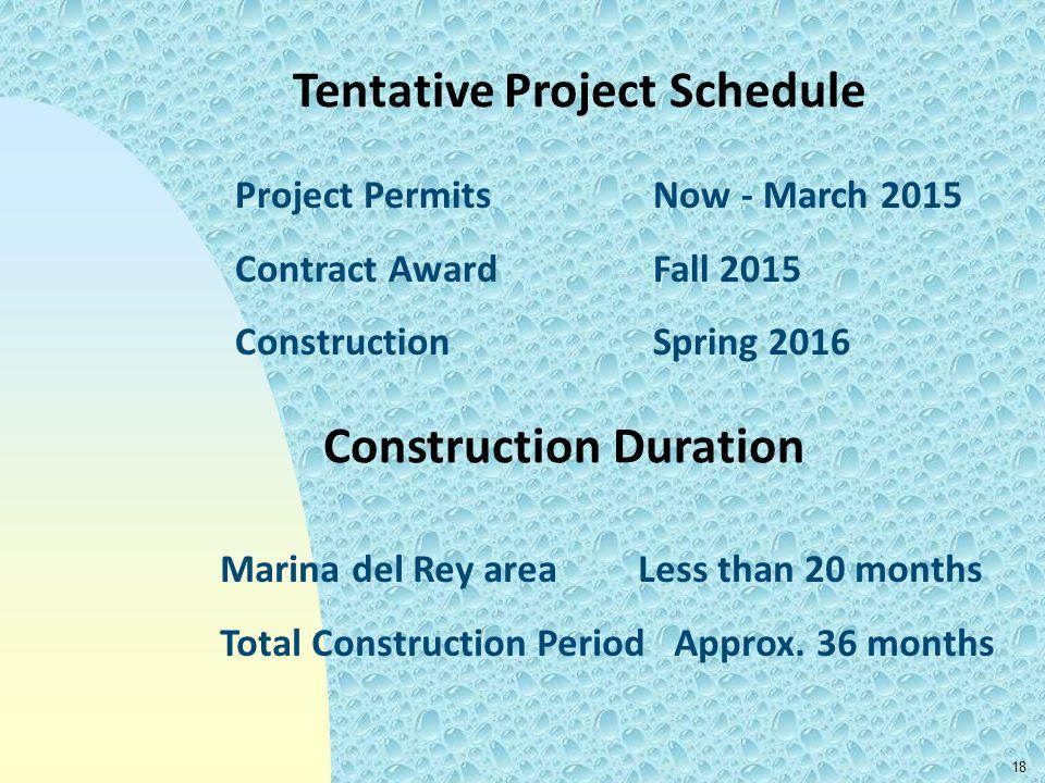 Tentative Project Schedule Construction Duration