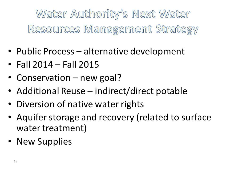 Water Authority's Next Water Resources Management Strategy