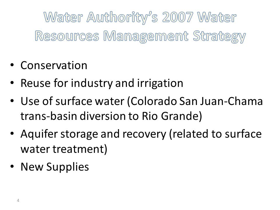 Water Authority's 2007 Water Resources Management Strategy