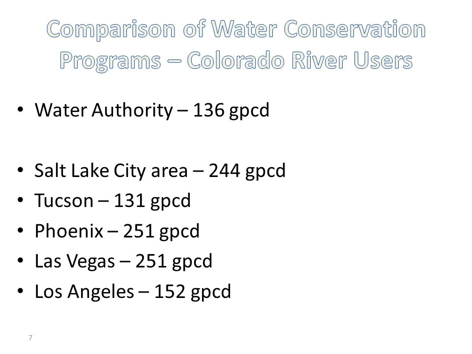 Comparison of Water Conservation Programs – Colorado River Users