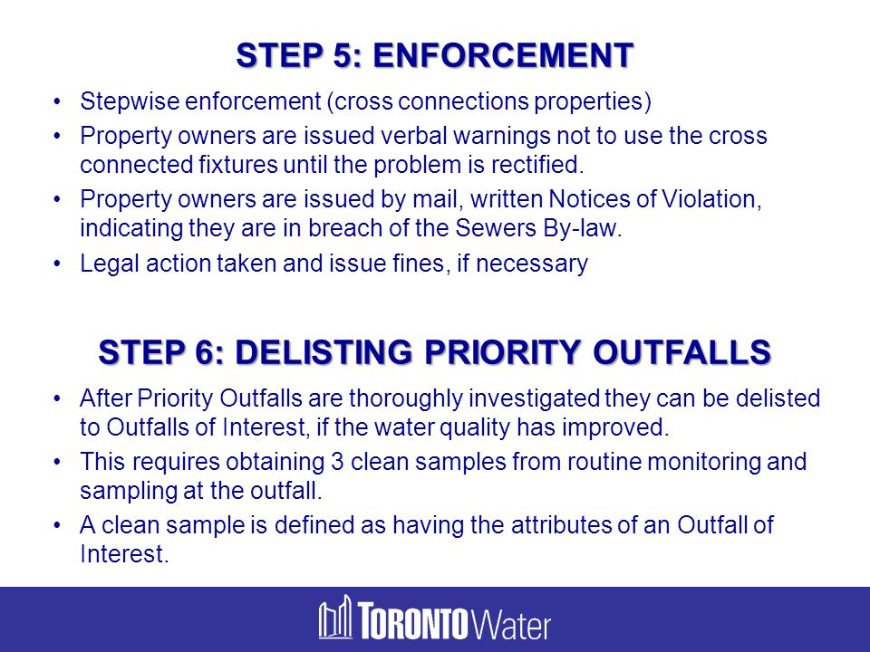 STEP 6: DELISTING PRIORITY OUTFALLS