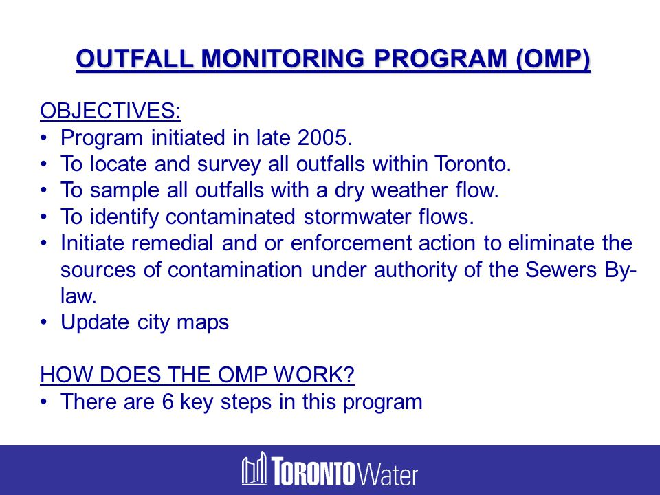 OUTFALL MONITORING PROGRAM (OMP)