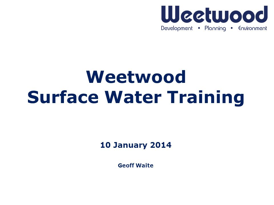 Weetwood Surface Water Training