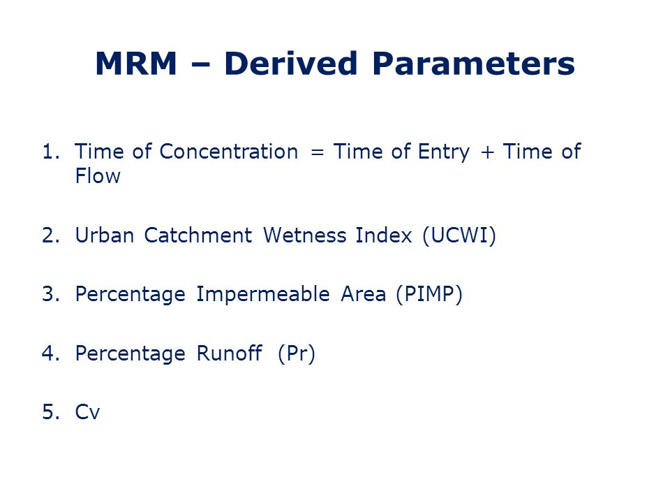 MRM – Derived Parameters