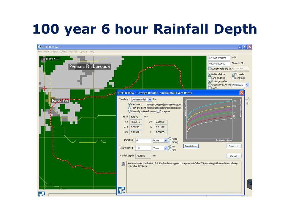 100 year 6 hour Rainfall Depth