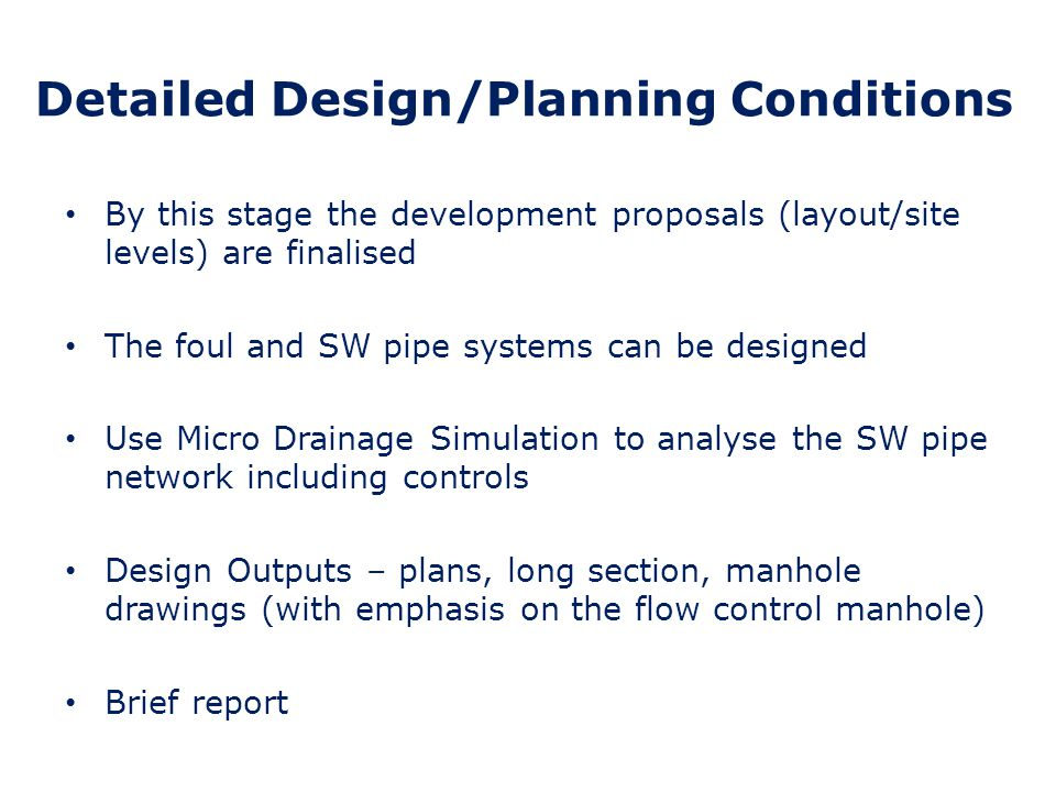 Detailed Design/Planning Conditions