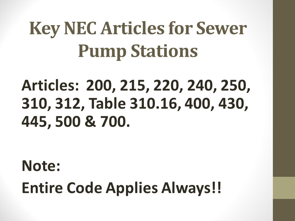 Key NEC Articles for Sewer Pump Stations