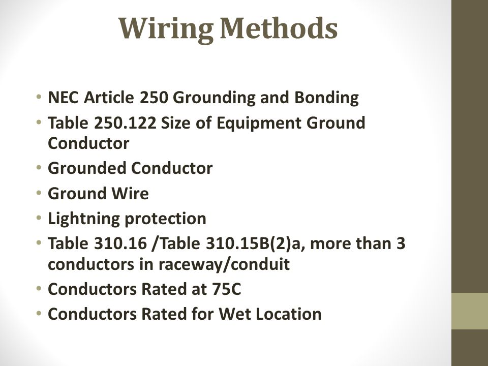 Nec table for ground wire size choice image wiring table and pump station electrical design ppt video online download 16 wiring methods nec article 250 grounding keyboard greentooth Choice Image