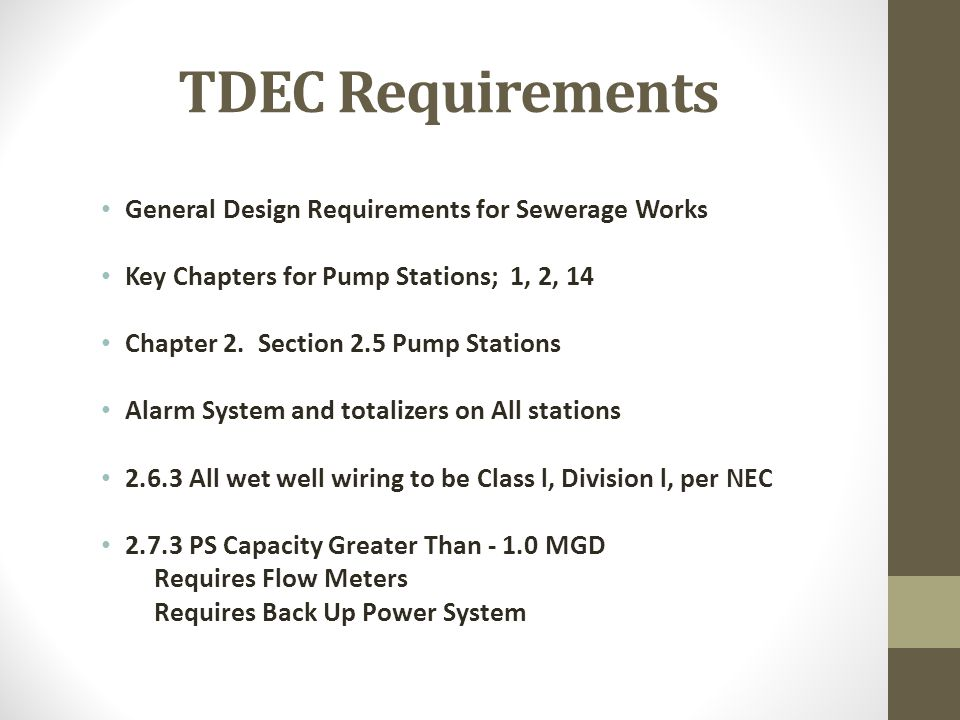 TDEC Requirements General Design Requirements for Sewerage Works