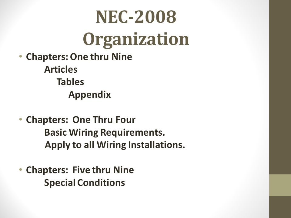 NEC-2008 Organization Chapters: One thru Nine Articles Tables Appendix