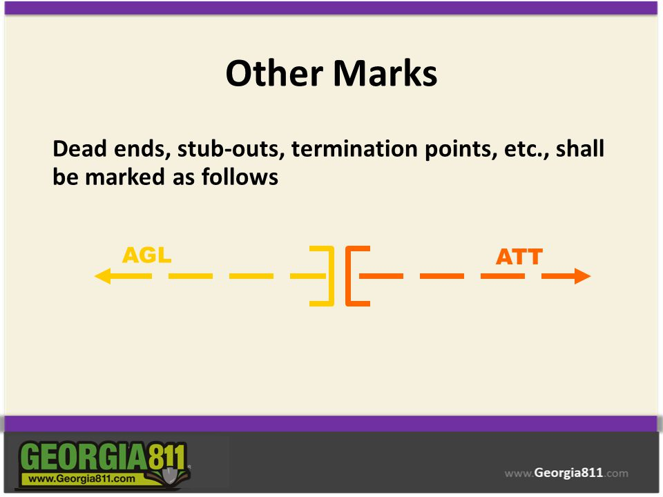 Other Marks Dead ends, stub-outs, termination points, etc., shall be marked as follows AGL ATT