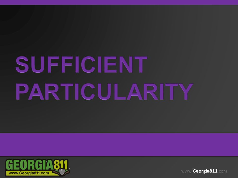 Sufficient particularity