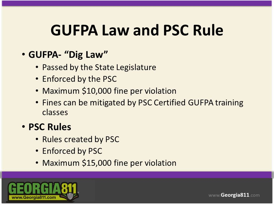 GUFPA Law and PSC Rule GUFPA- Dig Law PSC Rules