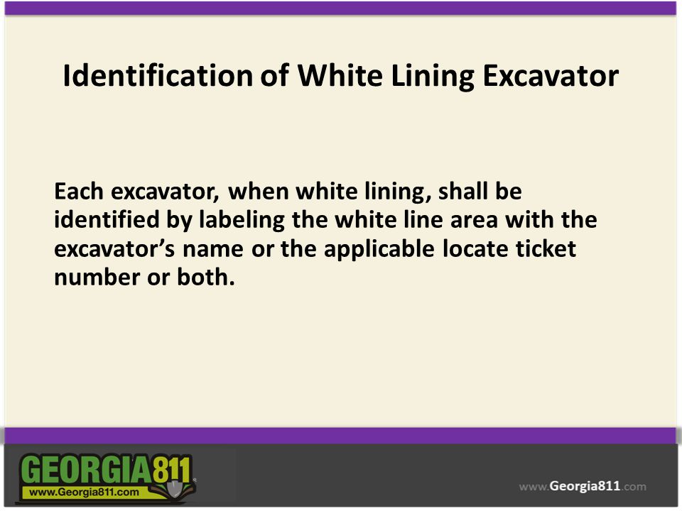 Identification of White Lining Excavator