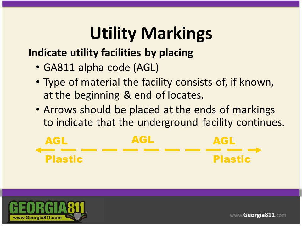 Utility Markings Indicate utility facilities by placing