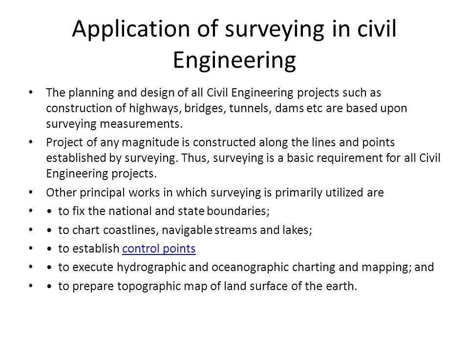 Application of surveying in civil Engineering