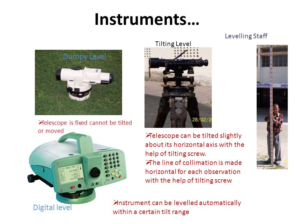 Instruments… Dumpy Level Digital level Levelling Staff Tilting Level