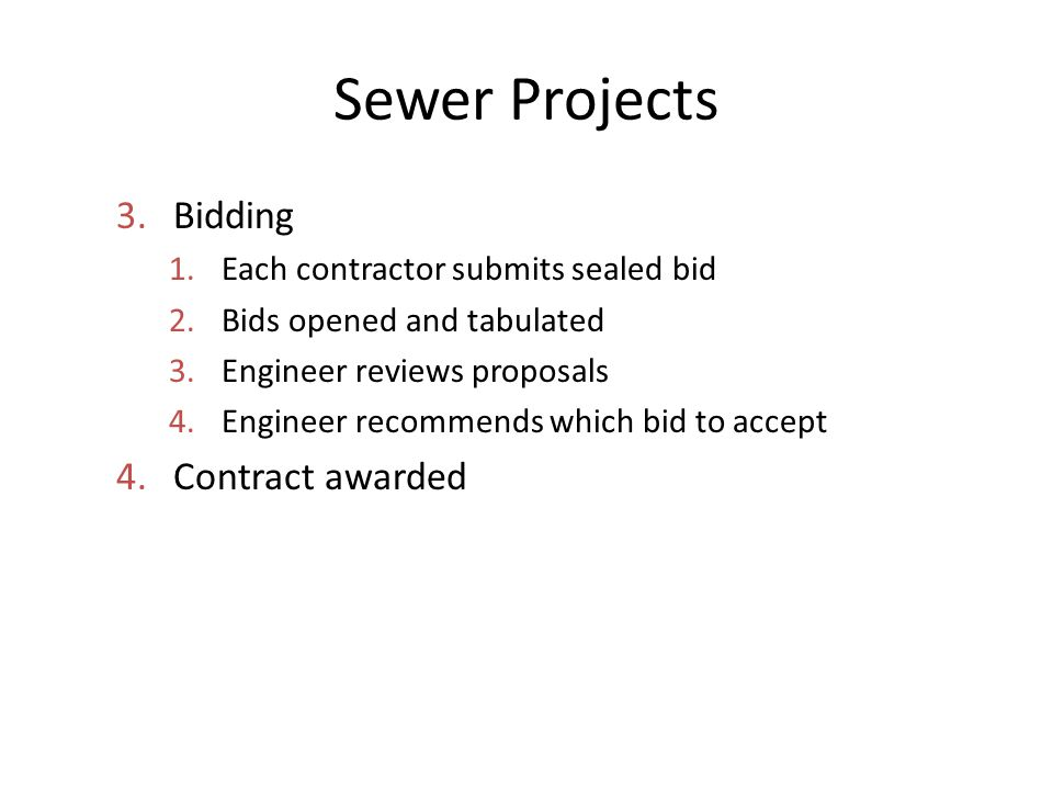 Sewer Projects Bidding Contract awarded