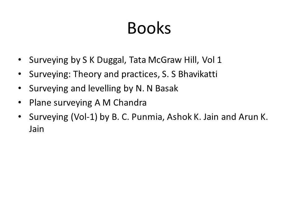 Books Surveying by S K Duggal, Tata McGraw Hill, Vol 1