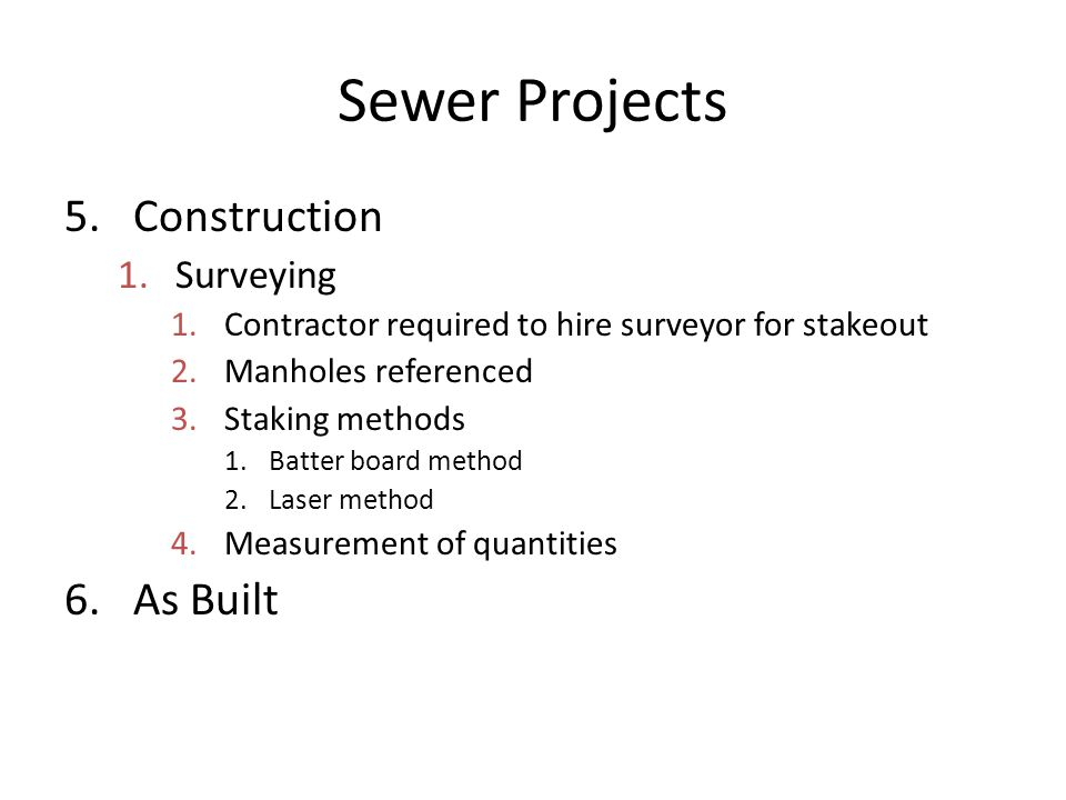 Sewer Projects Construction As Built Surveying