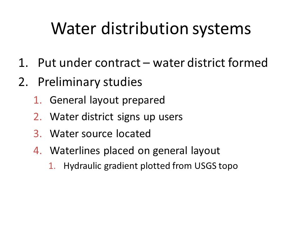 Water distribution systems