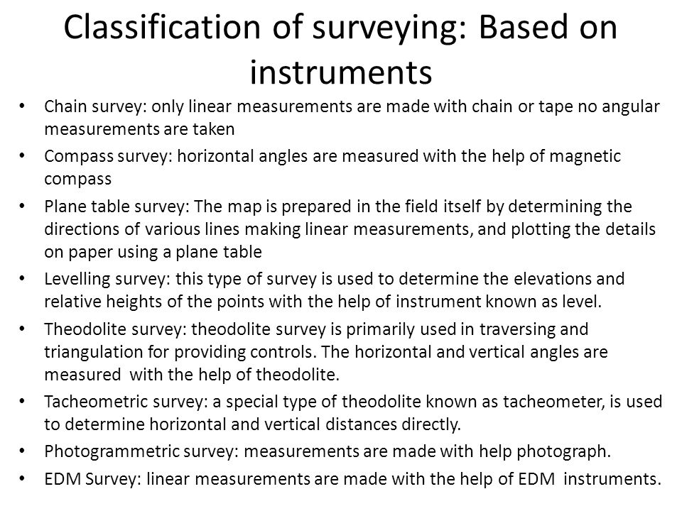 Classification of surveying: Based on instruments
