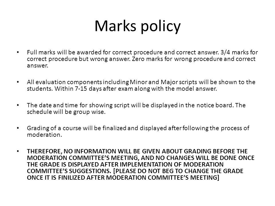 Marks policy