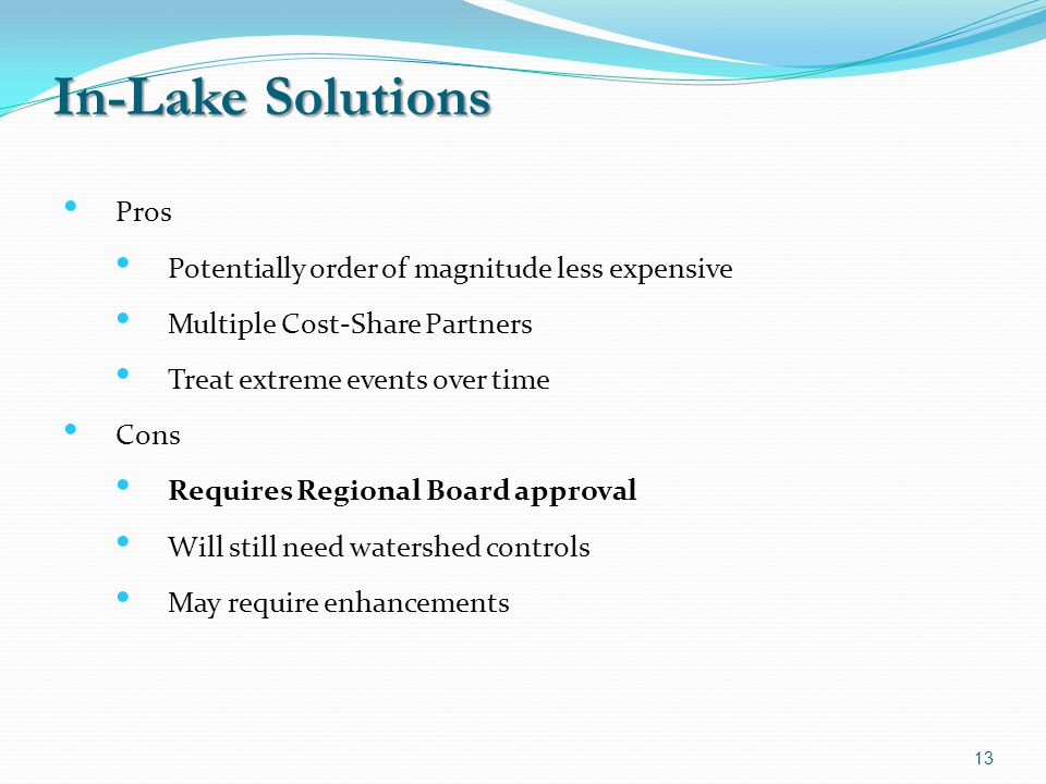 In-Lake Solutions Pros Potentially order of magnitude less expensive