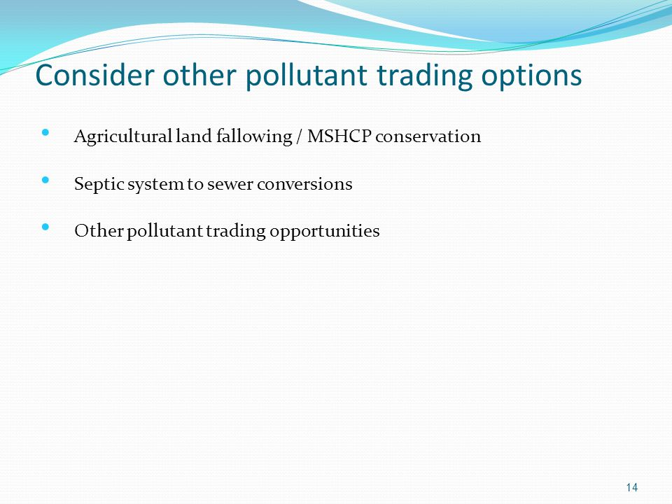 Consider other pollutant trading options