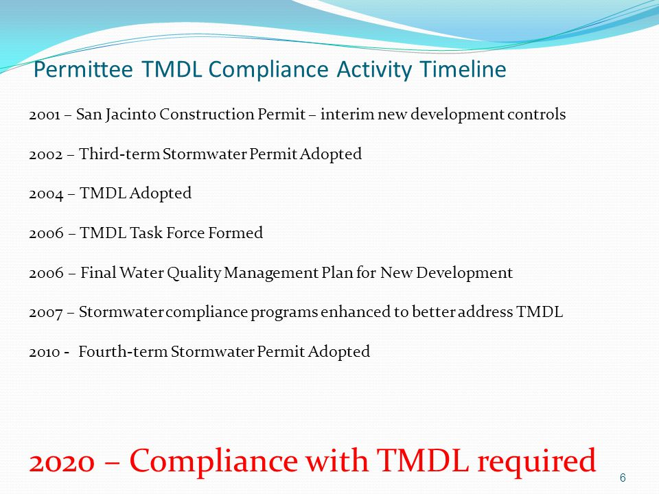 Permittee TMDL Compliance Activity Timeline