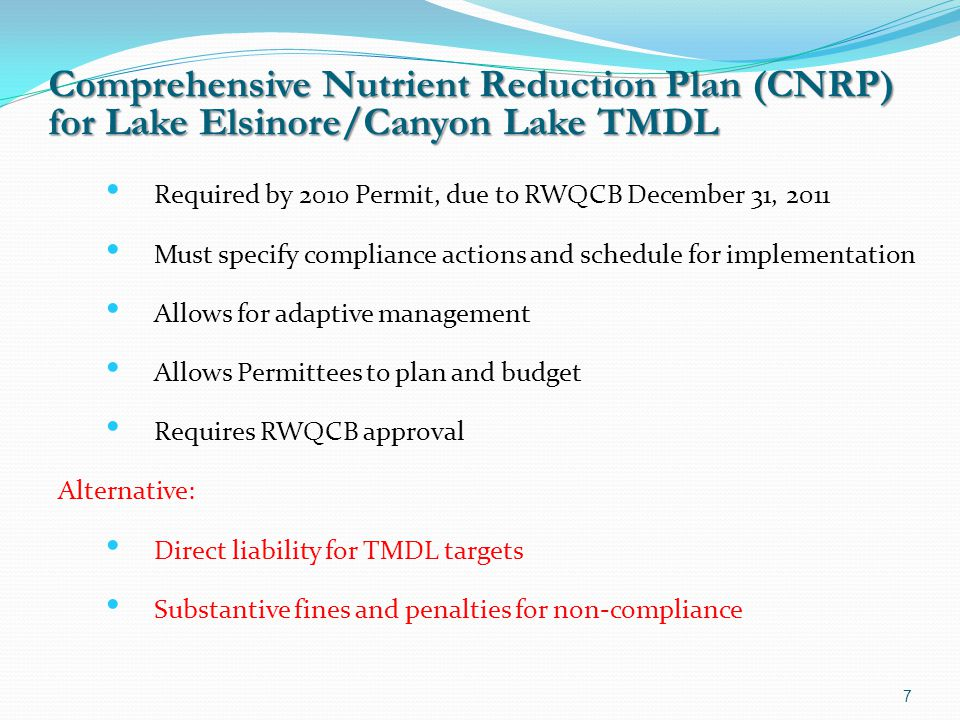 Comprehensive Nutrient Reduction Plan (CNRP)