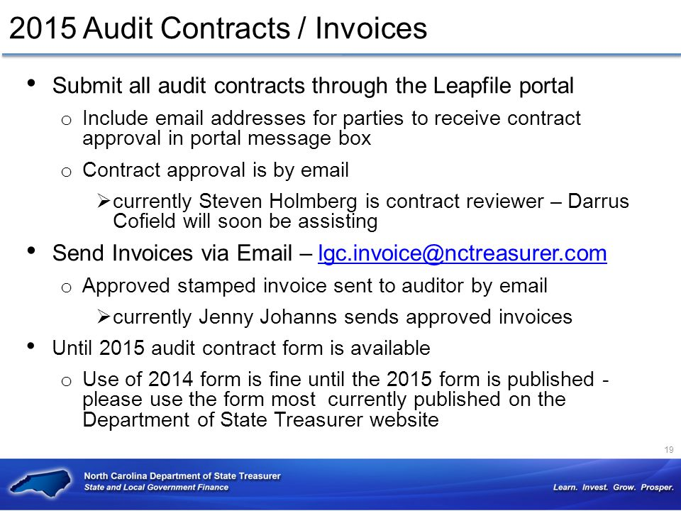 2015 Audit Contracts / Invoices
