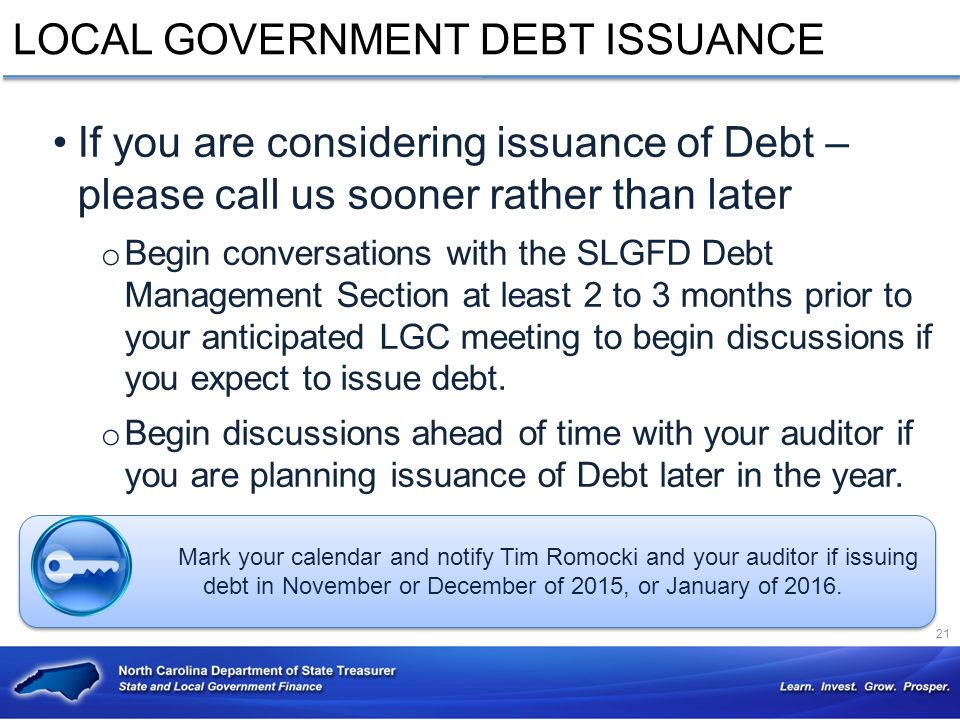 LOCAL GOVERNMENT DEBT ISSUANCE
