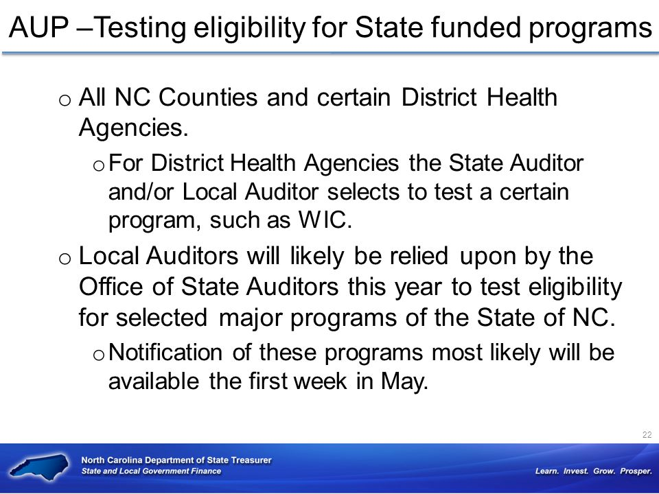 AUP –Testing eligibility for State funded programs