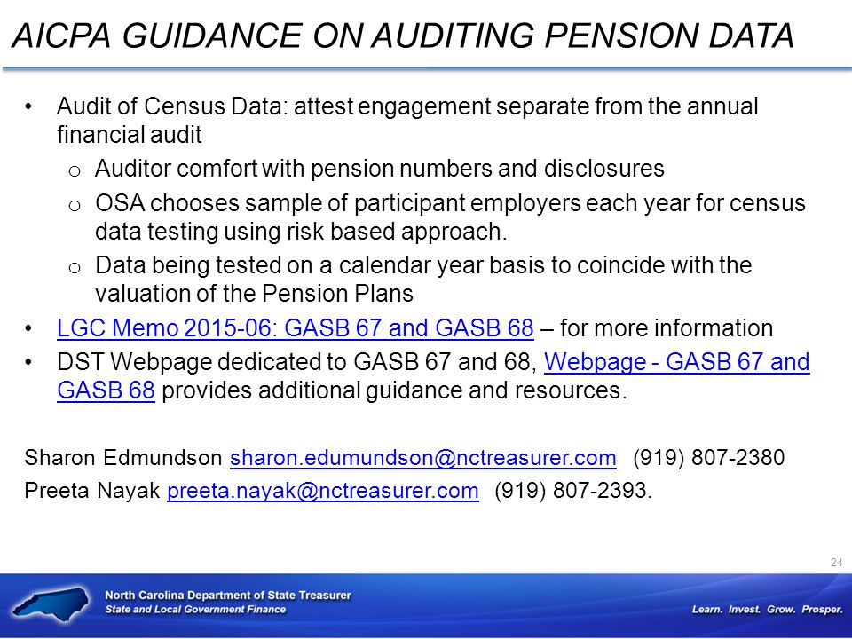 AICPA GUIDANCE ON AUDITING PENSION DATA