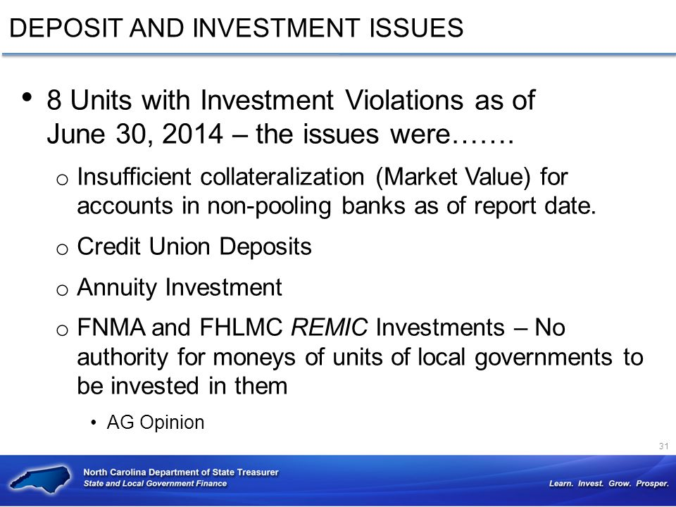 DEPOSIT AND INVESTMENT ISSUES