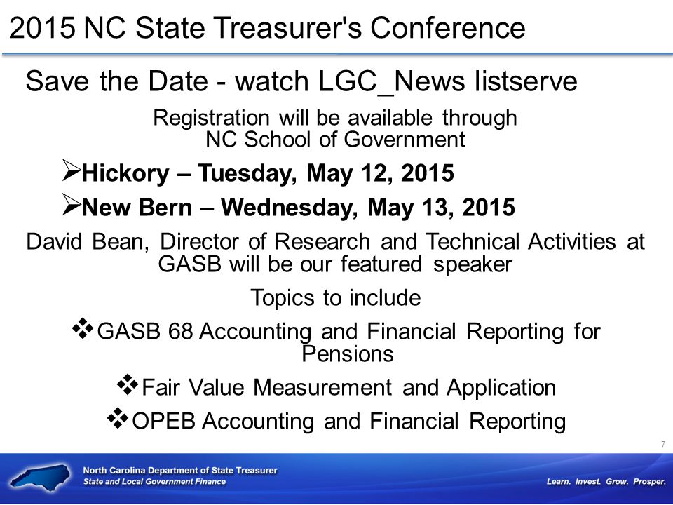 2015 NC State Treasurer s Conference