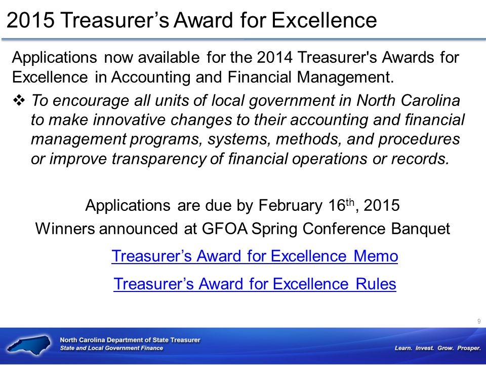 2015 Treasurer's Award for Excellence